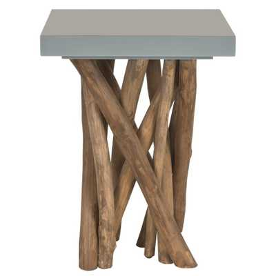 Hartwick Grey Side Table, Gray/Natural - Home Depot