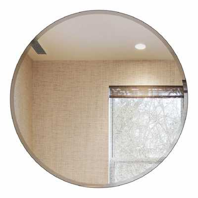 36 in. Round Beveled Polished Frameless Decorative Wall Mirror with Hooks - Home Depot