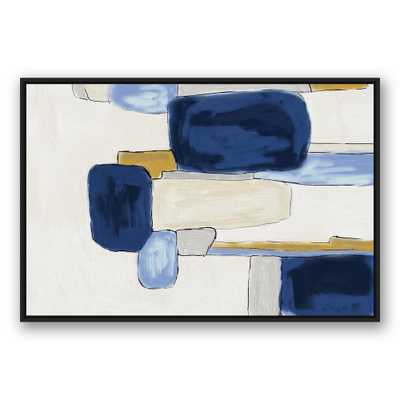 32 in. x 48 in. ''Watercolor Blue Abstract Squares'' Printed Framed Canvas Wall Art - Home Depot