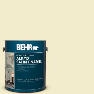 BEHR 1 gal. #P350-2 May Apple Satin Enamel Alkyd Interior/Exterior Paint - Home Depot