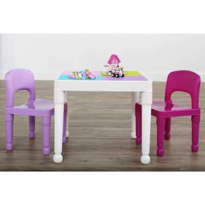 Playtime 3-Piece White/Pink/Purple 2-in-1 Plastic Lego-Compatible Kids Activity Table and 2-Chairs Set - Home Depot