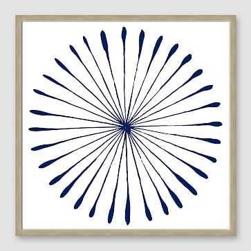 """Framed Print, WaterColor Burst I Navy, Natural Frame, 20"""" X 20"""" - West Elm"""