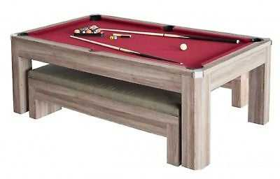 New Carmelli Newport 7-ft Table Tennis & Billiards Combo With Bench In Driftwood - eBay