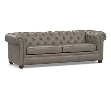 """Chesterfield Roll Arm Leather Grand Sofa 96"""", Polyester Wrapped Cushions, Vintage Graphite - Pottery Barn"""