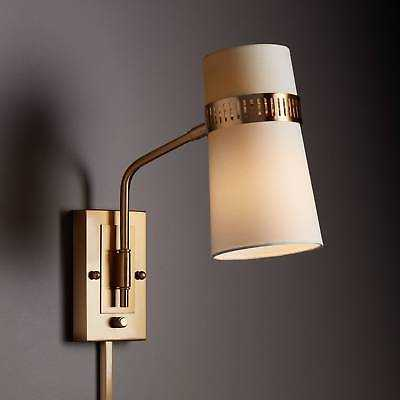 Cartwright Warm Antique Brass Plug-In Wall Lamp - eBay