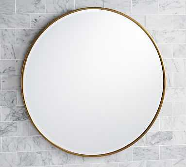 "Vintage Round Mirror, 42"", Brass - Pottery Barn"