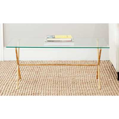 Brogen Gold and Clear Coffee Table, Gold/Clear Glass Top - Home Depot