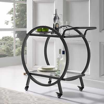 Wrought Studio Fannin Round Frame Bar Cart: Black - eBay