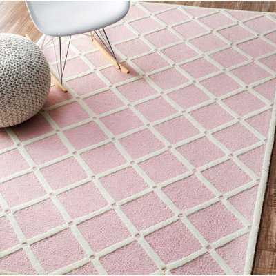 Seo Hand-Hooked Wool Pink Area Rug - Birch Lane