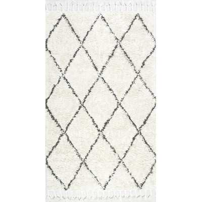 Twinar Hand-Knotted Wool Off White/Dark Grey Area Rug 6' x 9' - Wayfair
