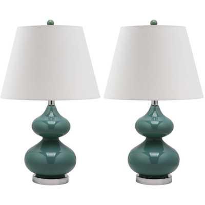 Safavieh Eva 24 in. Marine Blue Double Gourd Glass Lamp (Set of 2) - Home Depot