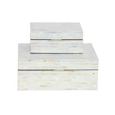 Wood Mop 2 Piece Decorative Box Set / White - Wayfair