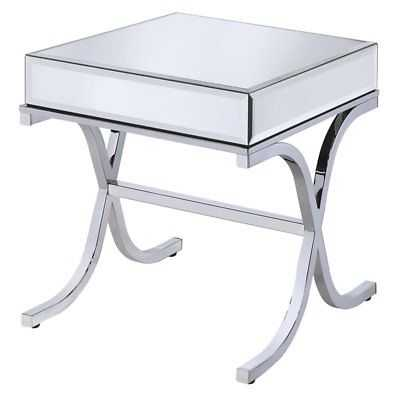 Bowery Hill Square Mirror Top End Table in Chrome - eBay