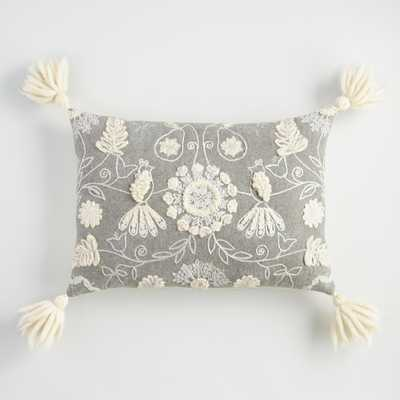 Embroidered Pear Tree Lumbar Pillow with Tassels by World Market - World Market/Cost Plus
