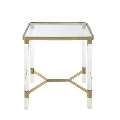 Penstemon Clear Acrylic, Gold Stainless Steel and Clear Glass End Table, Clear Acrylic/Gold Stainless Steel And Clear Glass - Home Depot