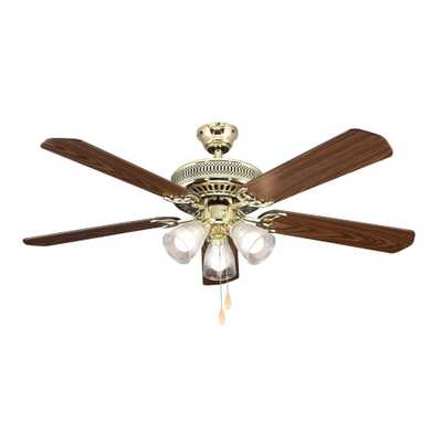Hampton Bay 52 in. Landmark Indoor Polished Brass Ceiling Fan with Light Kit - Home Depot