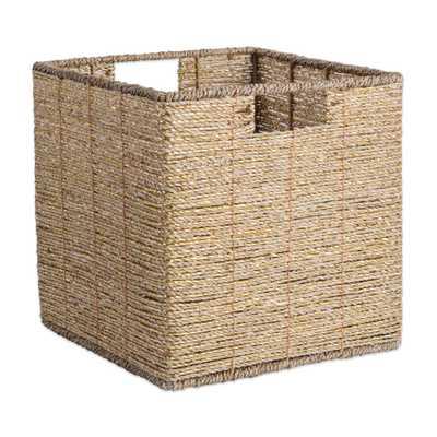 Square Woven Seagrass Decorative Bin, Gold - Home Depot