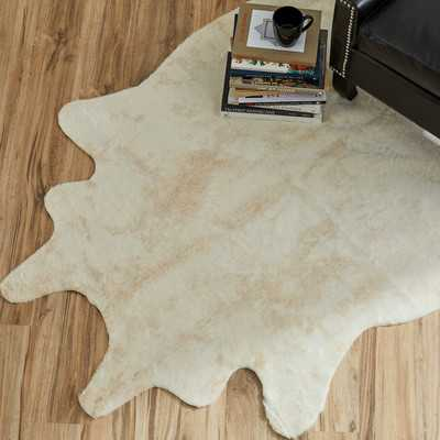 Hand-Tufted Faux Cowhide Ivory Area Rug - Wayfair