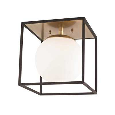 Mitzi by Hudson Valley Lighting Aira 1-Light Aged Brass and Black Large Flushmount with Opal Etched Glass and Black Accents - Home Depot