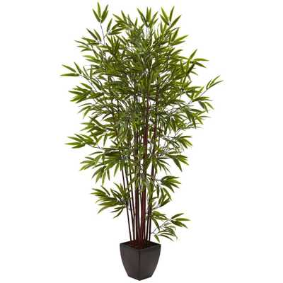 6 ft. Bamboo Silk Tree with Planter - Home Depot