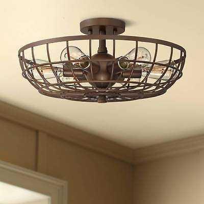 "Crane 18"" Wide Bronze Basket Cage 6-Light Ceiling Light - eBay"