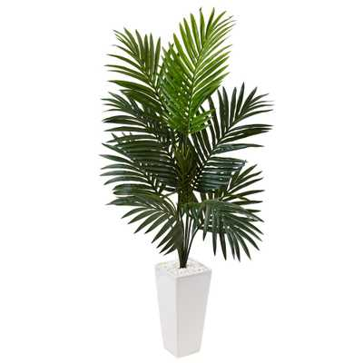 Indoor Kentia Palm Artificial Tree in White Tower Planter - Home Depot