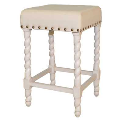 Remick 24 in. Vintage White and Linen Barley Twist Upholstered Counter Stool, 24 In Vintage White - Home Depot