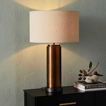 Pillar Table Lamp USB, Natural Linen, Burnished Brass - West Elm