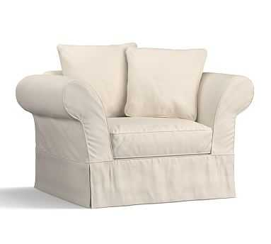 Charleston Slipcovered Chair-and-a-Half, Polyester Wrapped Cushions, Twill Cream - Pottery Barn