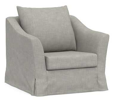 SoMa Brady Slope Arm Slipcovered Armchair, Polyester Wrapped Cushions, Premium Performance Basketweave Light Gray - Pottery Barn