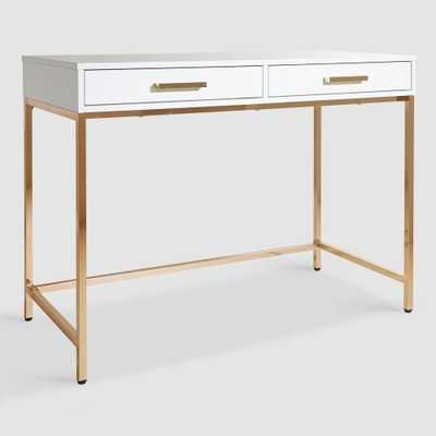 White and Gold Reid Desk with Drawers by World Market - World Market/Cost Plus