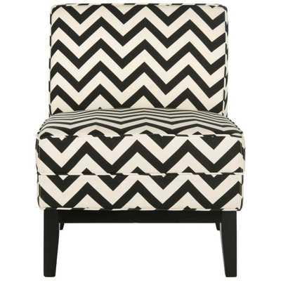 Armand Black and White Zig Zag Linen/Cotton Accent Chair, Black/White - Home Depot