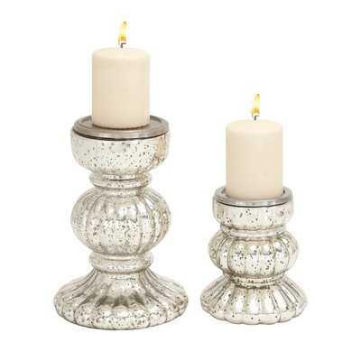 2 Piece Glass Candlestick Set - AllModern