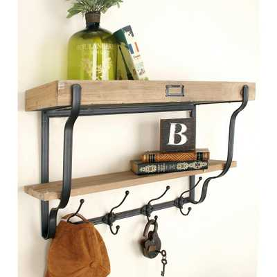 Natural Brown and Black 2-Tier Wall Shelf with Hooks, Brown/Tan - Home Depot