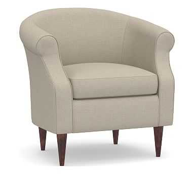 SoMa Lyndon Upholstered Armchair, Polyester Wrapped Cushions, Brushed Crossweave Natural - Pottery Barn