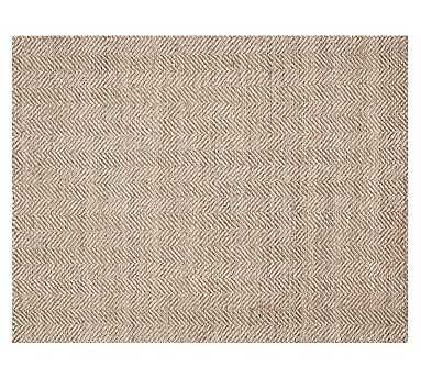 Chevron Wool Jute Rug, Mocha, 8 x 10' - Pottery Barn