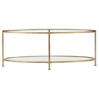 Bella Aged Gold Oval Glass Coffee Table - Home Depot