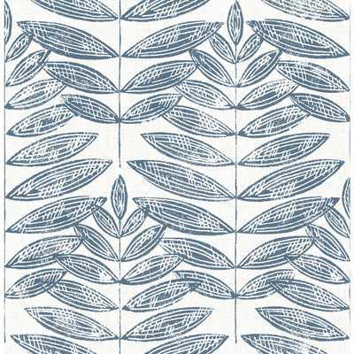 A-Street 56.4 sq. ft. Akira Navy (Blue) Leaf Wallpaper - Home Depot