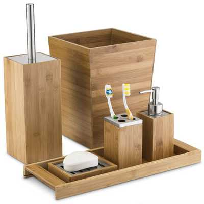 6 Piece Home Basics Bamboo Bathroom Accessory Collection - eBay
