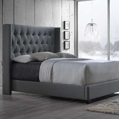 Katherine Transitional Gray Fabric Upholstered King Size Bed - Home Depot