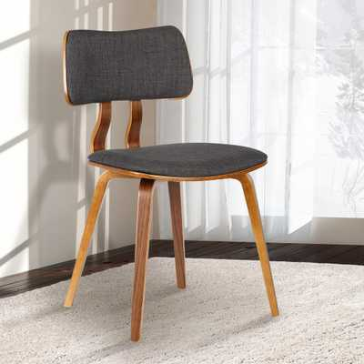 Jaguar 29 in. Charcoal (Grey) Fabric and Walnut Wood Finish Mid-Century Dining Chair - Home Depot