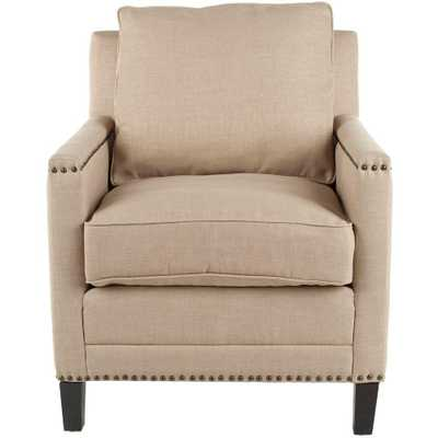 Buckler Wheat Beige/Espresso (Wheat Beige/Brown) Linen-Poly Upholstered Arm Chair - Home Depot