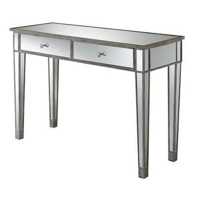 Convenience Concepts Gold Coast Mirrored Desk Vanity in Weathered White and M... - eBay