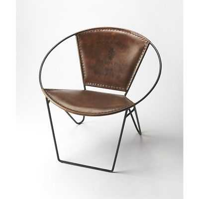 Butler Milo Iron & Leather Accent Chair, Medium Brown - 6168344 - eBay