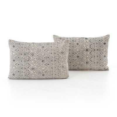 Astin Faded Print Cotton Lumbar Pillow Set of 2 - Wayfair
