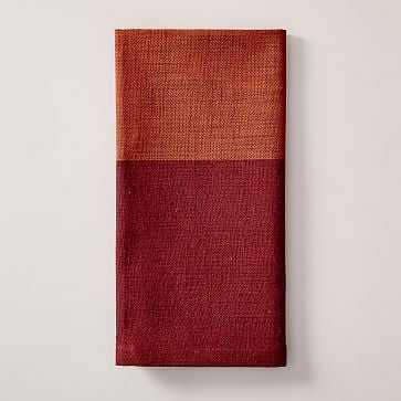 Center Stripe Woven Napkin, Set of 4, Cayenne - West Elm