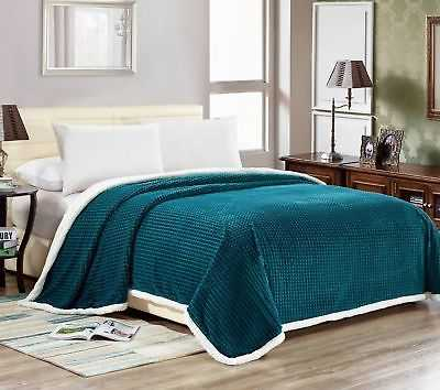 Hammoud Lush Elegance Textured Lattice Reversible Sherpa Blanket: Queen - Teal - eBay