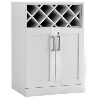 Home Bar White 16 in. Wine Storage Cabinet, White Woodgrain - Home Depot