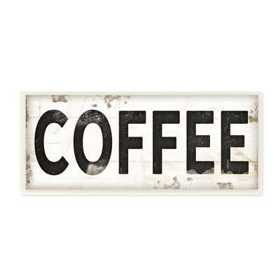 """7 in. x 17 in. """"coffee Typography Vintage Sign"""" by Jennifer Pugh Printed Wood Wall Art, Multi-Colored - Home Depot"""