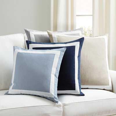 """Ballard Designs Bordered Linen Pillow Marine Blue 20"""" x 20"""" - Ballard Designs"""